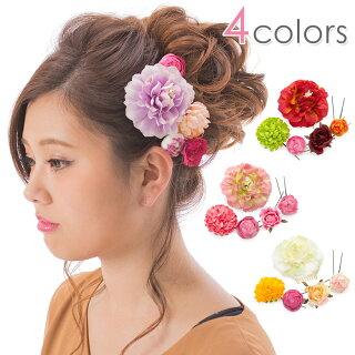 髪飾り5点セット花に蕾5本組薄紫赤白ピンク