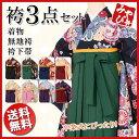 【卒業式袴3点セット】9種類 4サイズ 小紋柄 着物 無地袴...