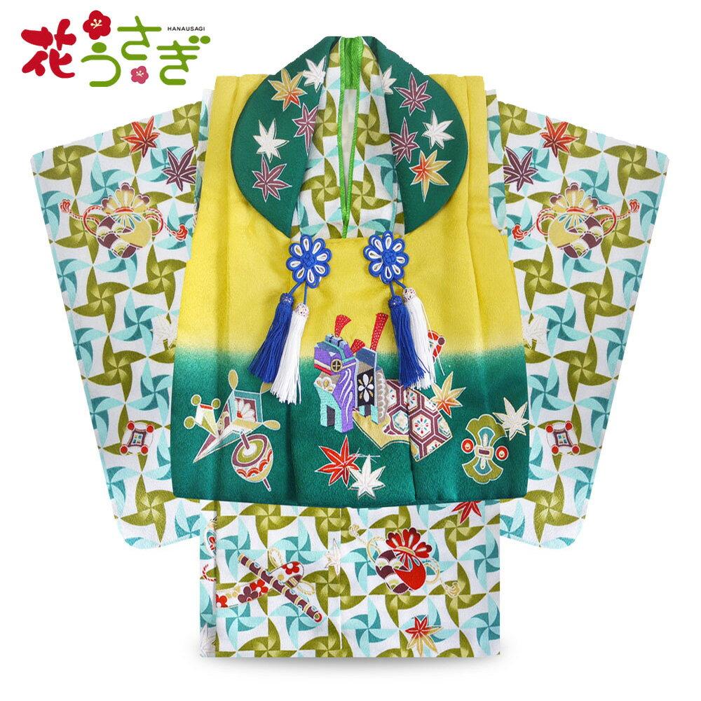 花うさぎ 1歳用 男の子 着物 衣装 男児 レンタル 貸衣装 和服 祝い着 往復送料無料 新品足袋プレゼント