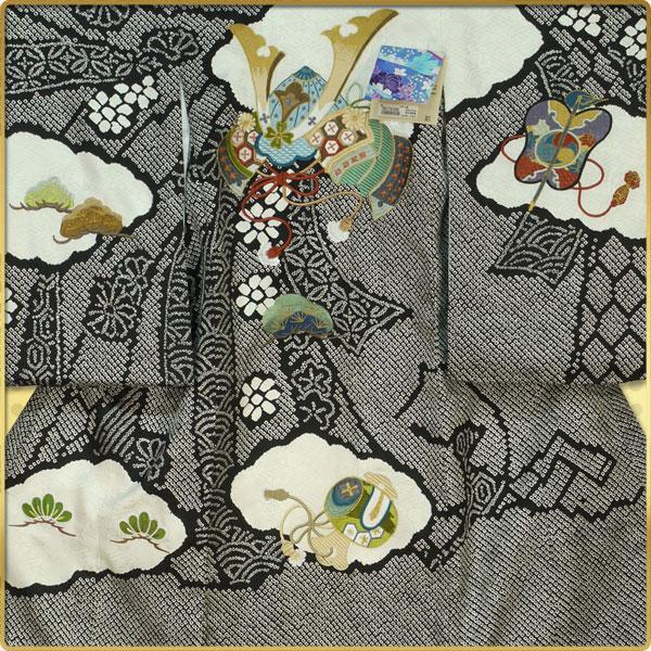 手描き京友禅【祝着(お宮参り)産着・のしめ・熨斗目】【男の子用】帽子セットプレゼント中!【黒・カブト】【最安値に挑戦】:京都きものcafe