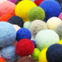 羊毛フェルトボールS【直径約20mm】単色【1個入】羊毛フェルト ポンポン/ボンテン