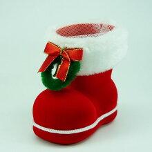 ニットブーツ【カラー:赤/緑】【クリスマスブーツ】ニットでくるんだかわいいクリスマスブーツ。ネット付きなので、お菓子や小物を入れてプレゼントに!!※容器のみの販売です。