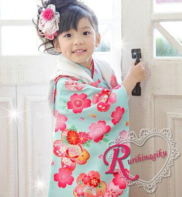 七五三 着物 被布セット 子供用 女の子七五三 着物 被布セット 着物 「ふんわり桜(水...