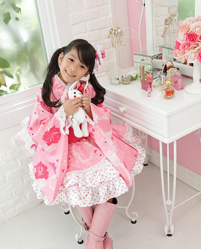 ≪七五三早割りセール≫ 着物ドレス 子供 「キャンディードロップ」(ピンク) 七五三 こども