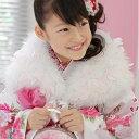 七五三 ショール お正月 スワンショール (マラボー) ファー 3歳?7歳用 白×ピンク 完全数量限定生産品