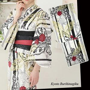 浴衣 ラメ 蝶 ストライプ 【浴衣単品】大人 ゆかた 白 黒 ゴールド 薔薇