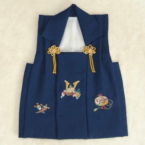 七五三着物男の子 被布単品 濃青色 兜刺繍 金コマ刺繍 日本製