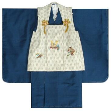 男の子 3歳 被布着物セット 紺 無地 被布矢絣オフホワイト色 刺繍半襟に足袋付きセット 日本製