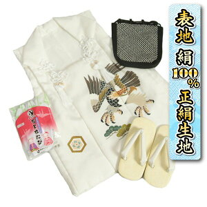 Shichigosan 3 Years Old Boy Kimono Pure Silk Covered Seta Set White Hawk Hand-painted Plain Seika Fabric Shingen Bag With Tabi Made in Japan