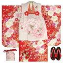 七五三 着物 被布セット着物 3歳 女の子 被布セット  マユミ 濃淡赤地 被布淡いピンク 刺繍桜 芍薬 足袋付き12点フルセット