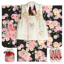 七五三 着物 3歳 女の子被布セット 夢想ブランド 黒 被布ベージュ 桜刺繍 金彩 刺繍半衿付き 足袋付フルセット
