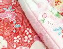 七五三 着物 3歳 正絹 女の子被布セット 赤色総疋田 華尽くし 被布白地ピンク切り替え 金彩使い 足袋付きフルセット 3