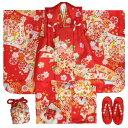 七五三 着物 3歳 正絹 女の子被布セット 濃赤色 熨斗華車 被布赤地 金彩使い 足袋付きセット