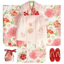 七五三 着物 3歳 女の子 被布セット 京都花ひめ 白地着物 被布ピンク刺繍使い 桜 まり 二段重ね ...