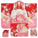 七五三 着物 3歳 女の子被布セット 天使ブランド 赤地色 被布ピンク白染め分け 桜柄 刺繍半衿に足袋付きセット