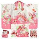 七五三着物3歳女の子被布セット天使ブランド白ピンク染め分け被布白ピンク切替二段重ね衿刺繍半衿に足袋付きセット