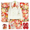 七五三着物正絹3歳女の子被布セット京都花ひめブランド赤色飛翔鶴被布白刺繍使い足袋付セット753日本製