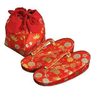 حقيبة صندل شيشيجوسان (kinchaku) من 3 إلى 5 سنوات نمط كنز أحمر ياباني صنع