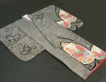 七五三着物7歳 正絹 女の子四つ身着物 黒色 総本絞り 手描き 舞蝶文様 金彩使い 日本製