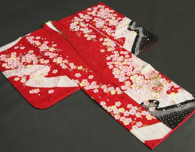 七五三 着物 7歳 正絹本絞り赤色地着物 刺繍まり 金彩箔 日本製