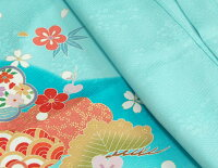 七五三着物7歳正絹着物フルセット濃淡ぼかし水色染め分け金コマ刺繍金襴地重ね仕立て帯セット足袋に腰紐など20点セット日本製