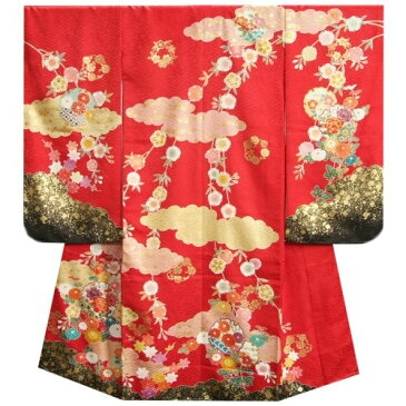 七五三着物7歳 正絹 女の子四つ身着物 正絹手描き赤色地着物 華百選 金彩雲取 日本製