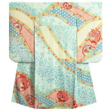 七五三着物7歳 正絹 女の子四つ身着物 水色 唐絞り 金彩箔 流水熨斗文様 日本製