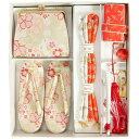 七五三 小物 着物用箱セコセット 筥迫セット 7歳用 白地 桜尽くし 織生地 バッグに草履の付いた7点セット 日本製