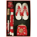 七五三 小物 着物用箱セコセット 筥迫セット 7歳用 赤 まり刺繍 ちりめん生地 バッグに草履の付いた6点セット 日本製