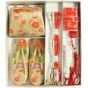 七五三着物用 筥迫セット ハコセコセット 7歳用 ベージュ系ゴールド 桜 揚羽蝶 草履バッグ6点セット 日本製