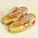 七五三 草履単品 3歳用 金襴色 四季桜文様 かかと鈴使い 小サイズ 日本製