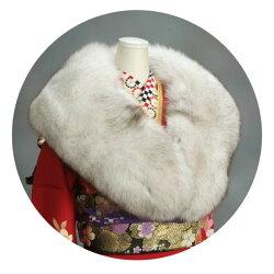 ファーショール振袖成人式ブルーフォックス毛皮ストールグレーベージュ卒業式やパーティーなどにも最適日本製