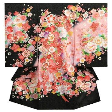 お宮参り 着物 女の子 正絹女児初着 女の子用産着 黒 ピンク 熨斗 桜 鈴 桜地紋
