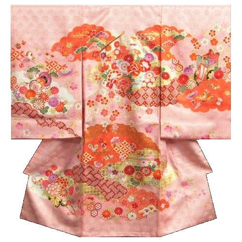 お宮参り 着物 女の子 正絹初着 女の子用産着 桜色 橙雲取配色 几帳 刺繍使い 金彩 日本製:お宮参りと七五三のKYOUBI