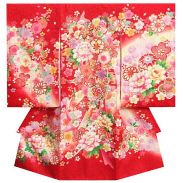お宮参り 着物 女の子 正絹初着 赤 桜 まり 刺繍牡丹 金刺繍使い 小桜地紋生地