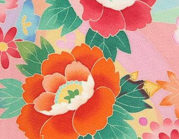 お宮参り着物 正絹女児初着 本加賀友禅 浜ちりめん生地 濃淡ピンク染め分け 手染め 手描き 裏地や長襦袢もすべて正絹仕立て 日本製