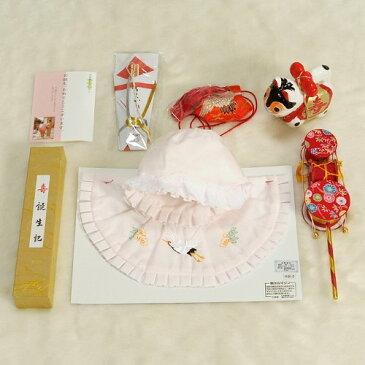 お宮参り着物用 正絹 涎掛け帽子 フードタイプ ピンク お宮参り8点セット 女の子向き 日本製