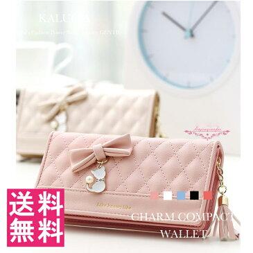 送料無料 財布 レディース 可愛い ネコ リボン フリンジ レディース財布 かわいい 女性用 コンパクト 可愛い 財布 小銭入れあり レディース レディース 財布