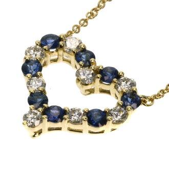 TIFFANY&Co. ピンチドハートサファイア / diamond necklace K18 gold Lady's fs3gm