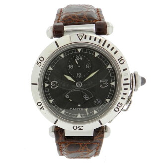 CARTIER Pasha 38 mm GMT watch SS / leather mens fs3gm