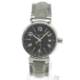 LOUIS VUITTON Tambour GMT Q1131 watch SS / leather men's
