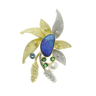 SELECT JEWELRY Boulder Opal brooch 18-karat gold and Platinum ladies upup7