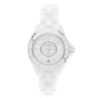 CHANELJ12 8P diamond watch white ceramic Lady's
