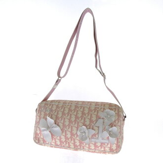 CHRISTIAN DIOR flower shoulder bags canvas / Leather Womens