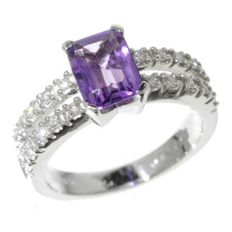 Amethyst and diamond ring K18 white gold ladies