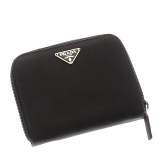 PRADA logo plate with two bi-fold wallets (purses and) nylon unisex