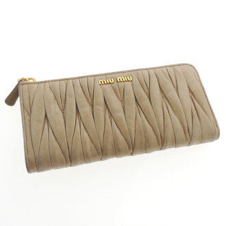 MIUMIU logo L-shaped zipper wallet (purse and) leather ladies