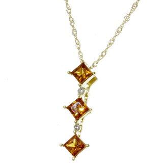 Citrine and diamond necklace K18 gold ladies