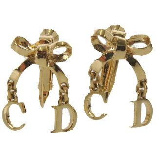 CHRISTIAN DIOR Ribbon motif earrings metal ladies