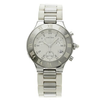 CARTIER Chrono scarf watch stainless steel / white rubber men